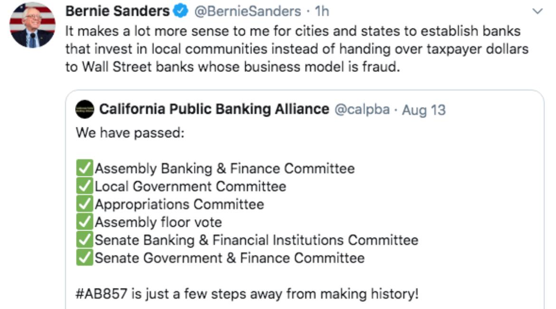 Bernie Sanders Endorses Public Banking Act