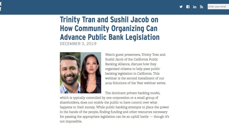Trinity Tran and Sushil Jacob on How Community Organizing Can Advance Public Bank Legislation