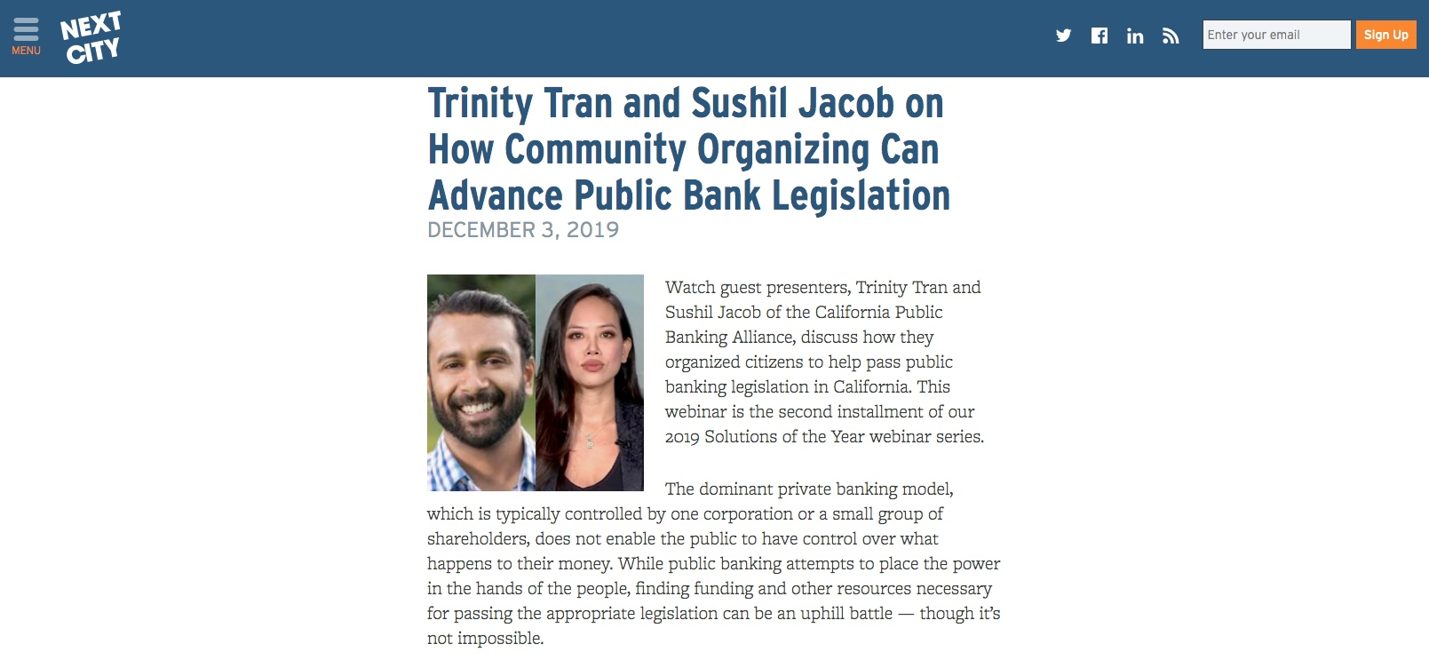 Trinity Tran and Sushil Jacob on How Community Organizing Can Advance Public Bank Legislation